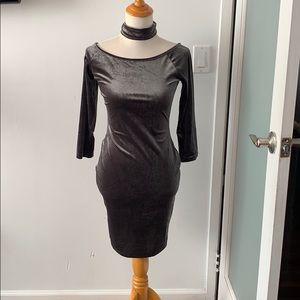 Another story suede Choker dress
